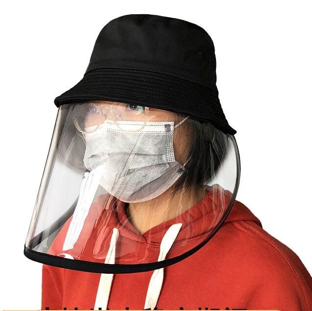 In Stock Transparent  Mask Anti-Saliva Splash Anti-Spitting Anti-Fog Anti-Oil Protective Fisherman Hat Cap Mask Removable