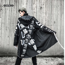 Cross Ribbon Overcoats Men High Street Fashion Printing Hip Hop Punk Style Long Hooded Trench