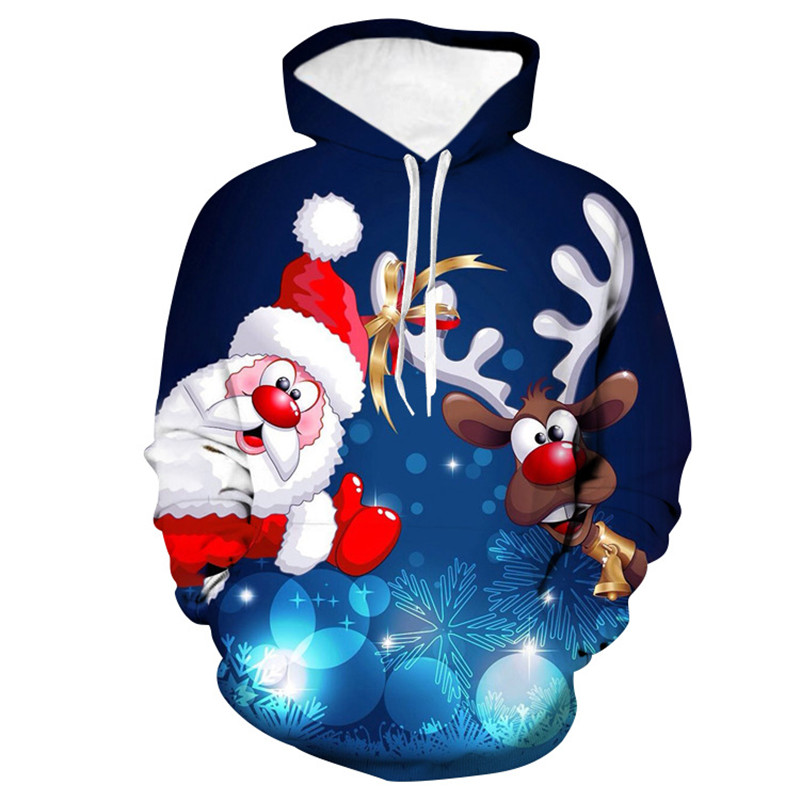 2019 Ugly Christmas Sweater Cartoon Santa Claus Elk Print Round Neck Oversize Hooded Sweater Couple Pullover Christmas Clothing