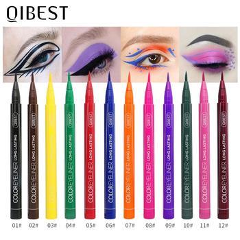QIBEST-Juego de delineador de ojos colorido, 12 colores, resistente al agua, maquillaje de larga duración, delineador líquido de Ojos de gato, lápiz cosmético 1