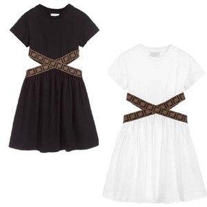 Летнее модное платье с поясом и надписью для девочек 90-150 2020