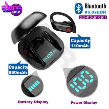 HBQ Q62 TWS Bluetooth Earphone V5.0 True Wireless Ear Hook Headphone Stereo Sport Earbud with 950mAh Power Dispaly Charging case