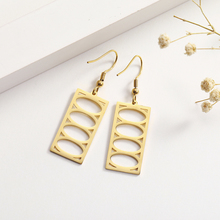 My Shape Stainless Steel Square Geometric Drop Earrings for Women Vintage Hollow Dangle Pendant Hook Earring Ethnic Ear Jewelry