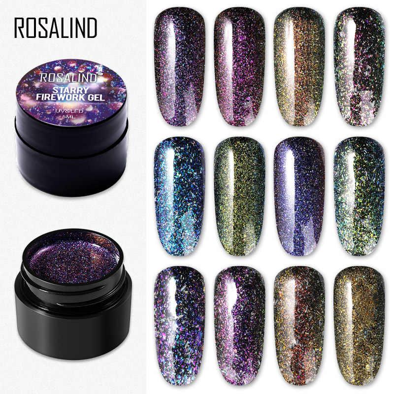 ROSALIND Starry ดอกไม้ไฟเล็บเจล Bright สำหรับ Glitter Nail Art Design POLY TOP BASE Primer สำหรับเล็บ