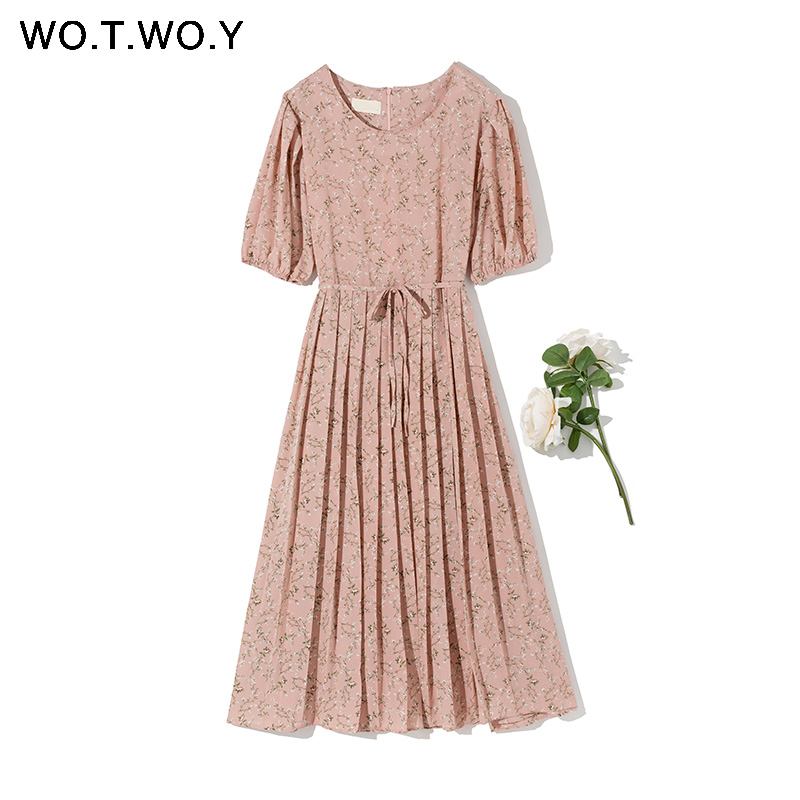 WOTWOY Casual Puff Sleeve Floral Dress Women Short Sleeve Sashes A-Line Dresses Women O-neck Solid Dress Femme Summer 2020 New