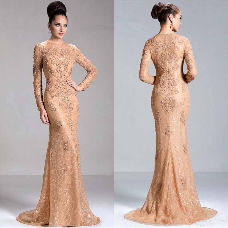 Champagne Lace Long Sleeve Mermaid Evening Dresses Beaded Appliques Formal Evening Gowns Sleeves Cheap Mother Of The Bride Dress