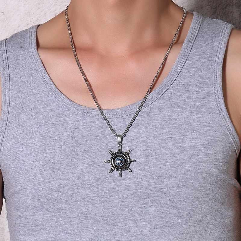 Wysokiej steru kompas wisiorek naszyjnik dla mężczyzn ze stali nierdzewnej na zewnątrz piesze wycieczki biżuteria unisex prezent 24 cal