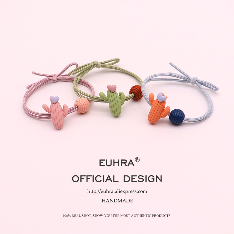 EUHRA 5 Colors Cactus Heart Love For Girls Hand Knotted Women Elastic Hair Bands Kid Children Rubber Bands High Elasticity