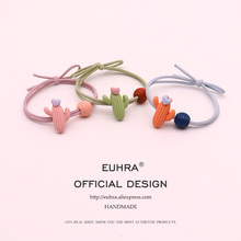 EUHRA 5 Colors Cactus Heart Love For Girls Hand Knotted Women Elastic Hair Bands Kid Children Rubber High Elasticity