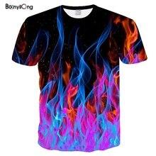 Новинка, Мужская футболка с цветным пламенем, футболки для мужчин и женщин, футболка с 3D принтом, черные футболки, повседневный Топ, аниме, футболка с коротким рукавом, топы