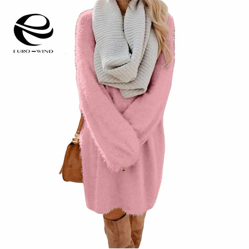 Осень-зима 2019, повседневное вязаное женское платье-свитер с длинным рукавом и круглым вырезом, женские топы, плюшевый свитер, большие размеры 3XL, платье-свитер