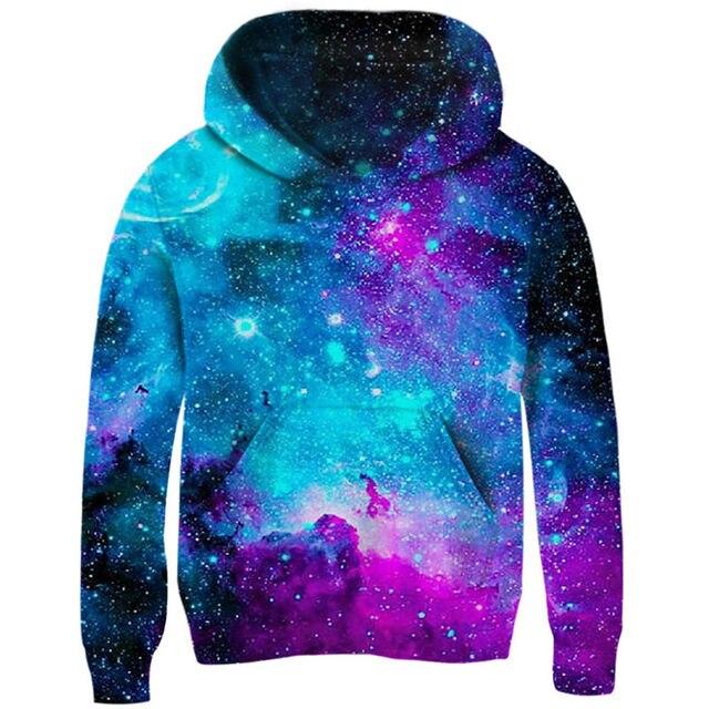 Space Galaxy bluzy dziewczyny chłopcy odzież wierzchnia 3d marka odzież bluza z kapturem na jesień pulowerowe topy 5 7 9 11 rok dzieci ubrania