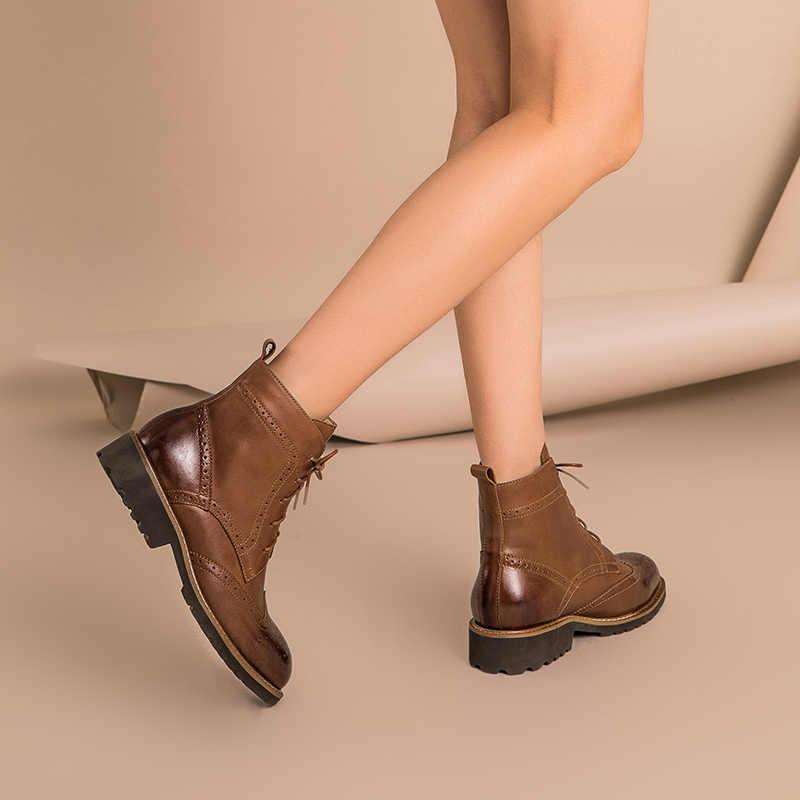 Beautoday brogue botas femininas de couro genuíno enceramento dedo do pé redondo laço-up tornozelo bota outono inverno senhora sapatos feitos à mão 03263