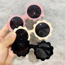 Gafas de sol polarizadas Vintage para niños y niñas, lentes de sol con borde redondo de flores, con protección Uv400 para deportes al aire libre en coche