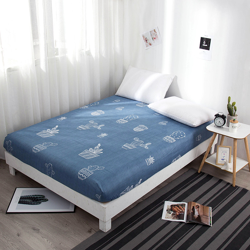 Animal Plant Print Mattress Cover Dust Cover 90*200 Fitted Sheet <font><b>180*200</b></font> Bed Cover with Elastic Rope King Queen Size Bed Linen image