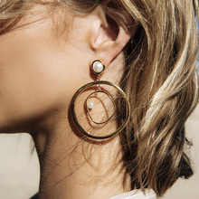 Vintage Hyperbolic Geometric Round Circle Punk Dangle Drop Womens Earrings 2019 серьги Fashion Jewelry Bohemia-YSF