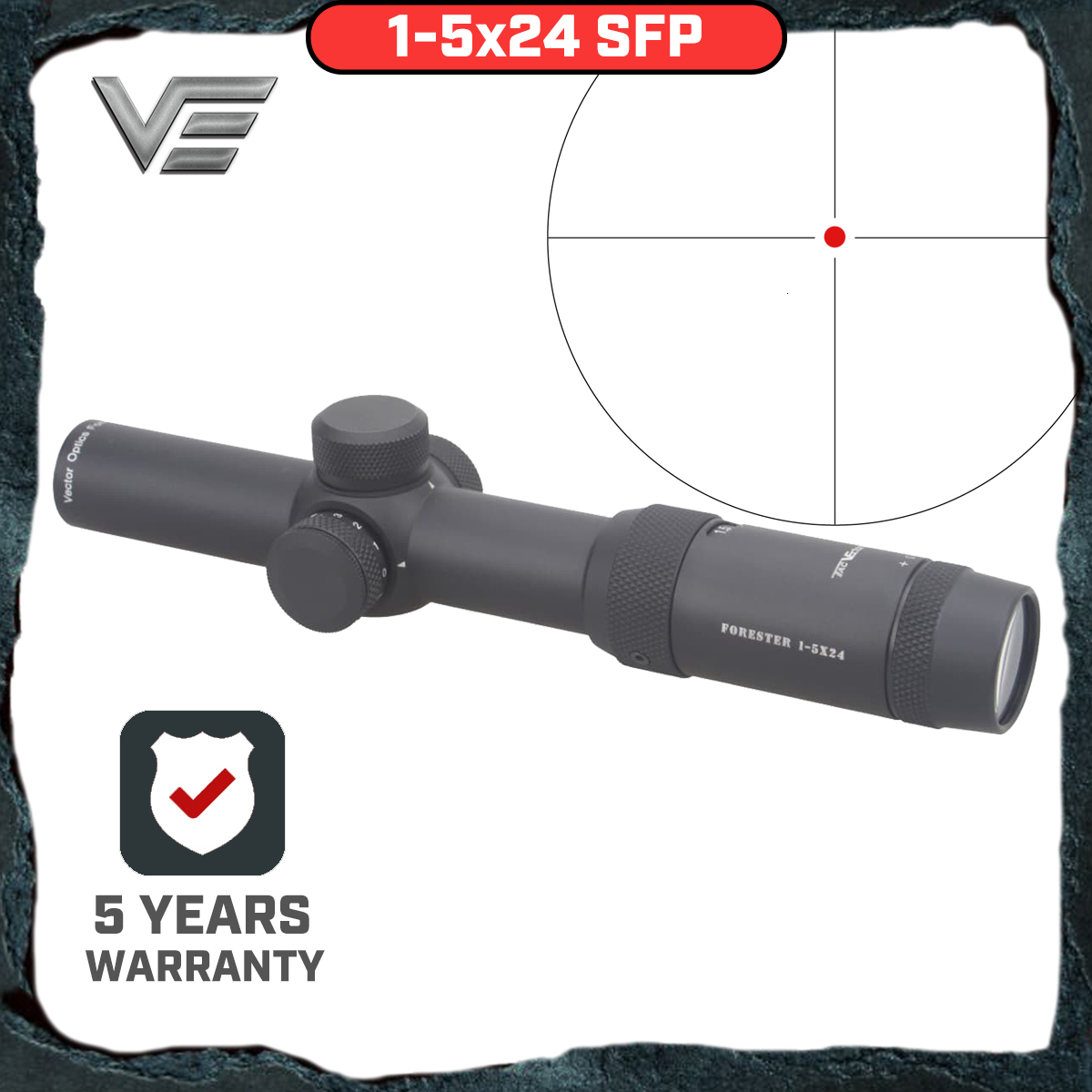 Vector Optics Forester 1-5X24 IR Rifle Scope Super Bright Clear Edgeless Image High Quingity 30mm Rilfescope For Hunting Shoot
