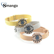 Wholesale Copper Micro Pave CZ Eyes Shape Charm Watchband Bracelet In 3Colors Top Quality Plating of 5Pcs,B0043