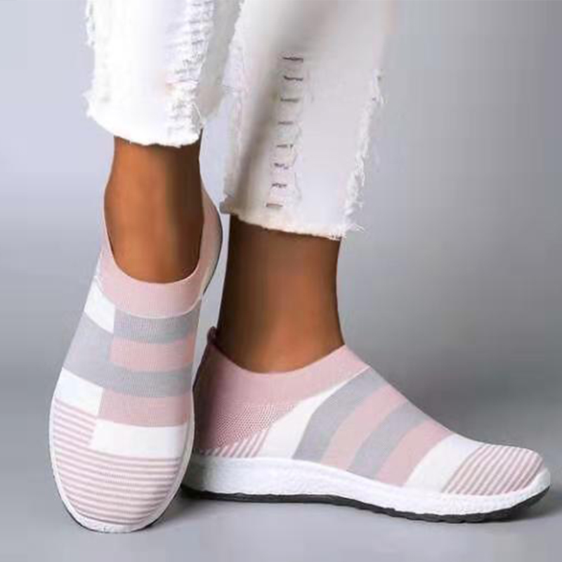 Lucyever Womens Casual Shoes Woman Mesh Sneakers 2020 New Spring Knitted Flat Ladies Slip On Female Footwear Plus Size 35-43