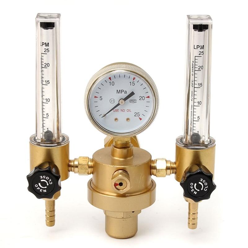 TOP Argon CO2 Gauge Pressure Regulator Mig Tig Flow Meter Control Valve Welding Gas Double Tube Bubble Counter Aquarium Flowmete