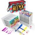 Набор художественных маркеров Arrtx OROS, 80 цветов, двусторонние фломастеры на спиртовой основе для постоянных художников, эскизные маркеры с п...