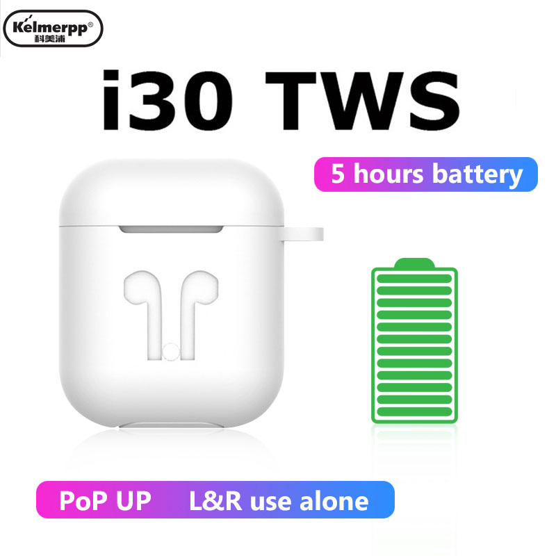 i30 <font><b>Tws</b></font> Bluetooth Earphones Wireless Stereo Touch Headset Aire 1:1 Replica <font><b>Pop</b></font> <font><b>Up</b></font> Earbuds for IPhone Android Samsung image