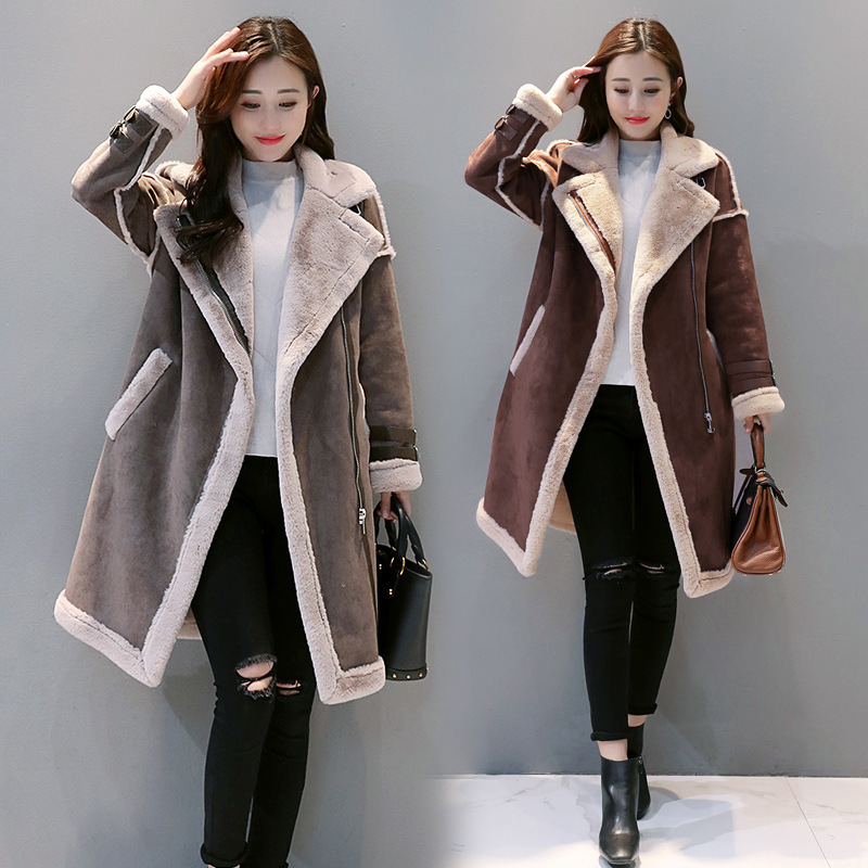 Fur Off Season Cotton-padded Clothes Mid-length 2019 Korean-style Lambs Wool Coat Women's Winter Suede Thick Cotton Coat