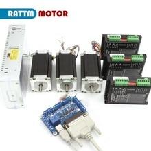 3 eksenli CNC Kontrol Kiti 3 adet Nema23 425Oz in Çift Şaft Step Motor ve CW5045 256 Microstep 4.5Aa Sürücü ve 5 eksenli kesme panosu