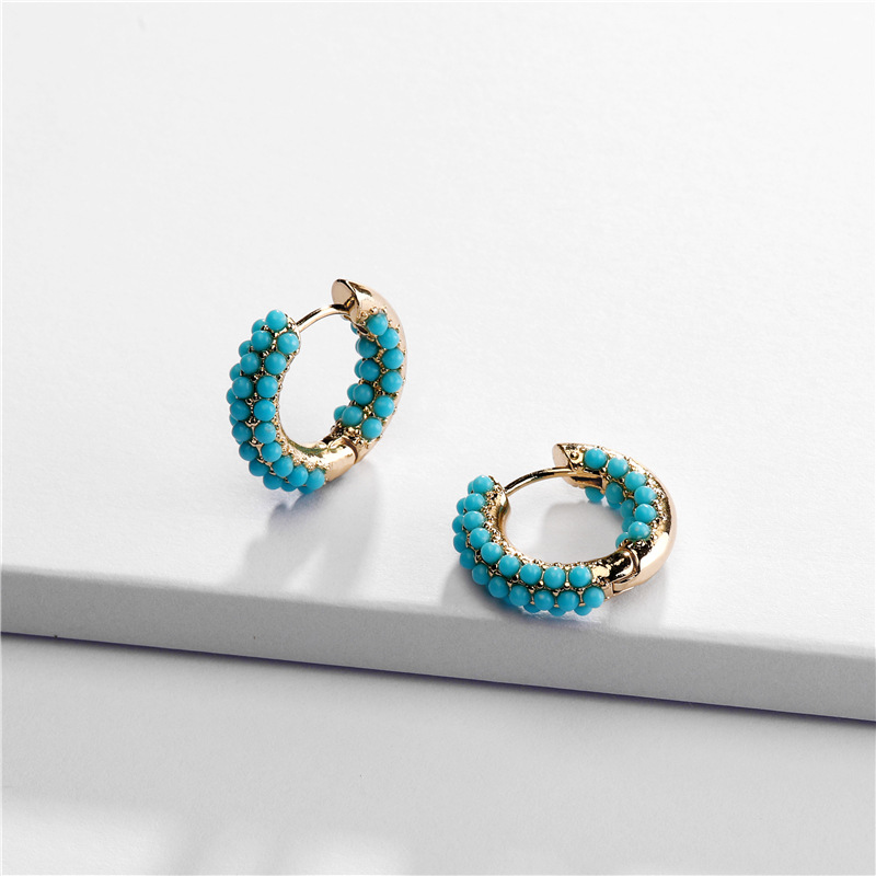 Top Quality Copper Casting Pave Glass Pearl Beads Jeweled Mini Huggies Hoop Earring For Women