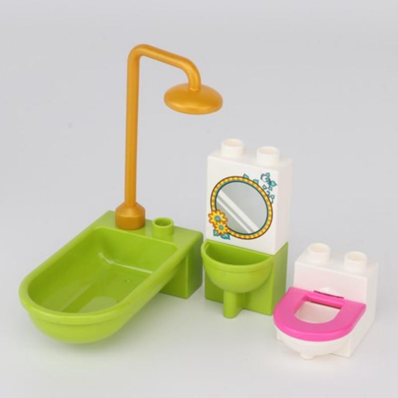 Para bloqueio duplo conjunto blocos banheiro suprimentos modelo criador compatível brinquedo brinquedos acessório para crianças cidade presente duploed tijolos