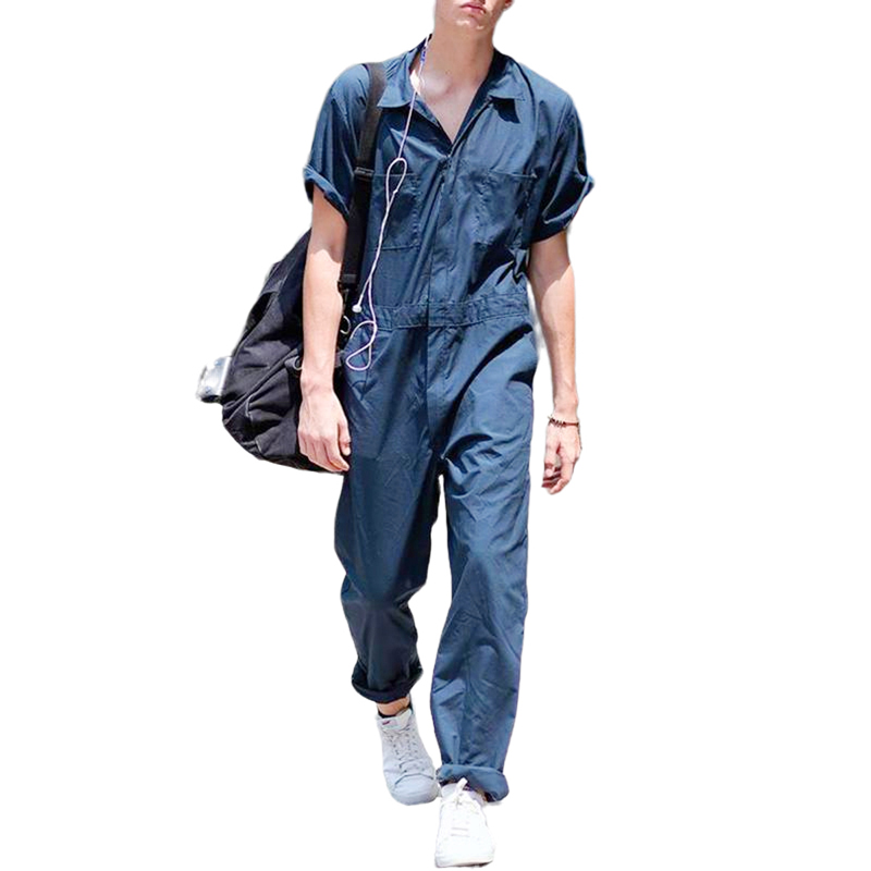 Summer Casual Men Romper Short Sleeve Solid Loose Overalls Fashion Men's Jumpsuit With Pockets Plus Size /BY