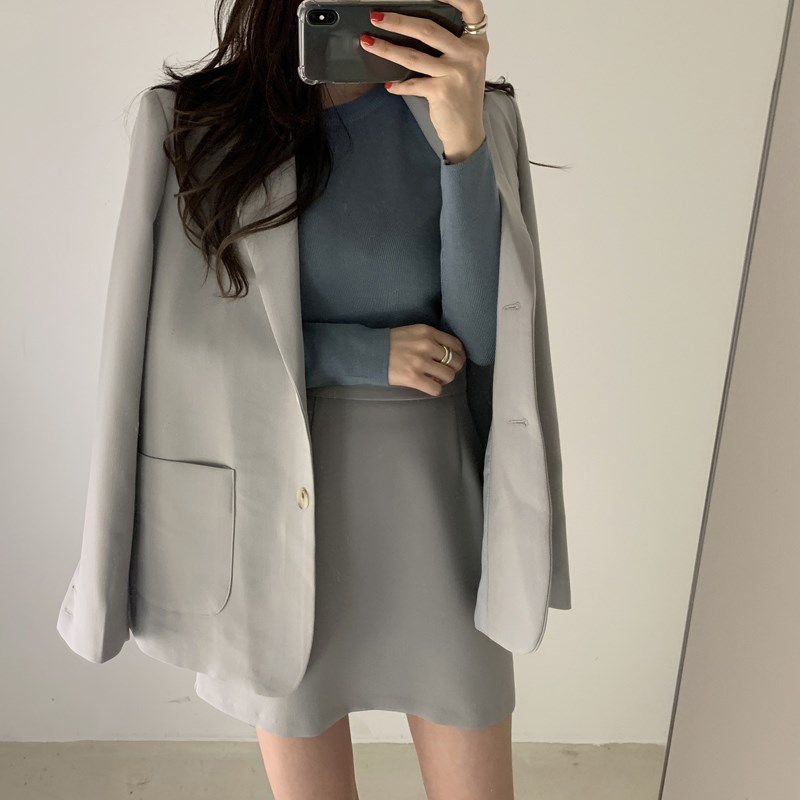 2019 Elegant Single-Breasted Pockets 2 Pieces Set Casual Female Solid Notched Women's Set Long Sleeve Loose 2 Pieces Outfits