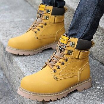 Winter Men Boots PU Outdoor Snow Ankle Boots Male Lace Up Anti-slip Booties British  Shoes Plus Size 46 Zapatos De Hombre
