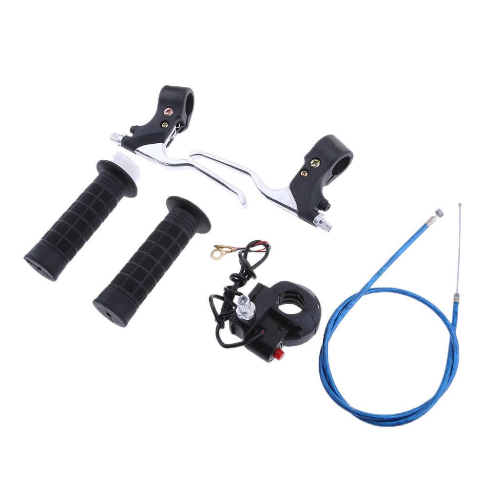 Poignées à poignée torsadée de 7/8 pouces et ligne de câble d'accélérateur et interrupteur noir et leviers de frein pour Mini vélo de poche 47/49CC