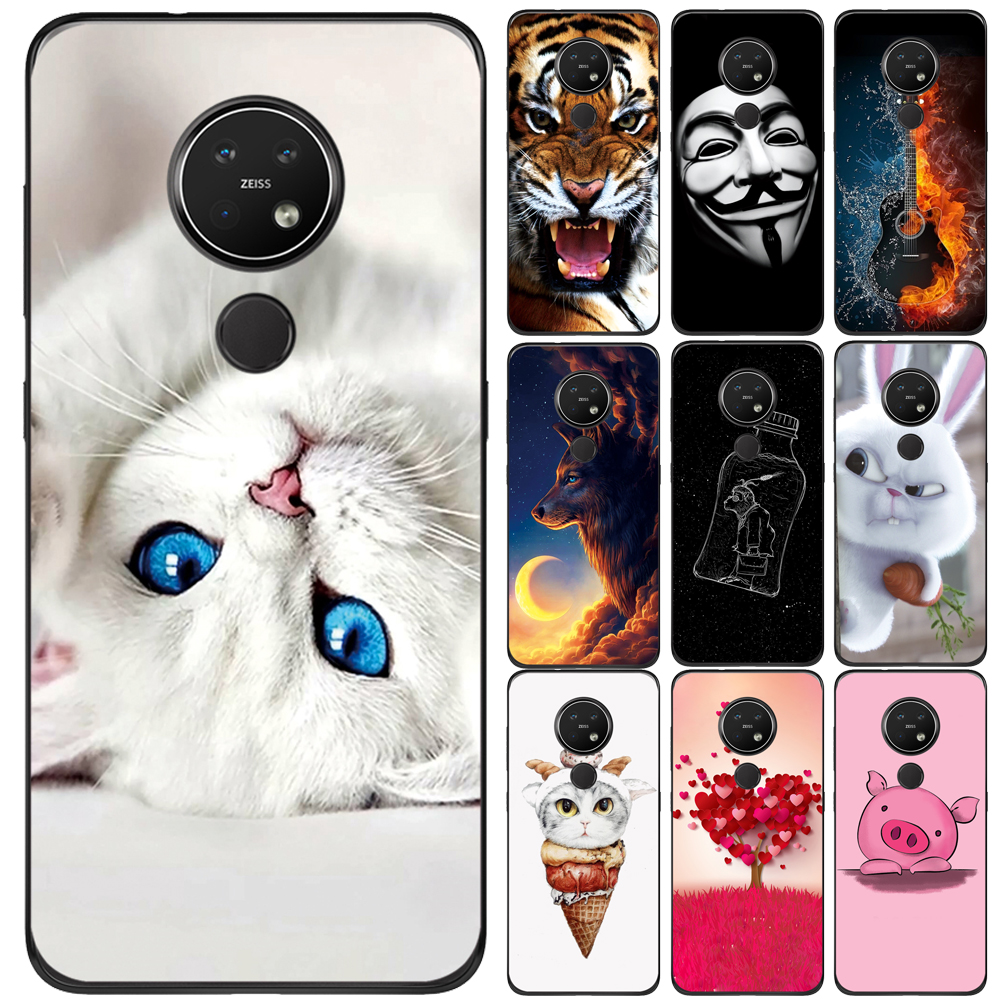 GUCOON Silicone <font><b>Cover</b></font> for <font><b>Nokia</b></font> 7.2 6.2 <font><b>3.1</b></font> Case Soft TPU Cartoon Painting Protective Phone <font><b>Back</b></font> Case Bumper Shell image