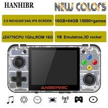 HANHIBR RG350 לינוקס מערכת רטרו משחק RG350M קונסולת 3.5 אינץ HD IPS מסך 16GB כף יד משחק לשחק 64GB RG350M 16 אמולטורים