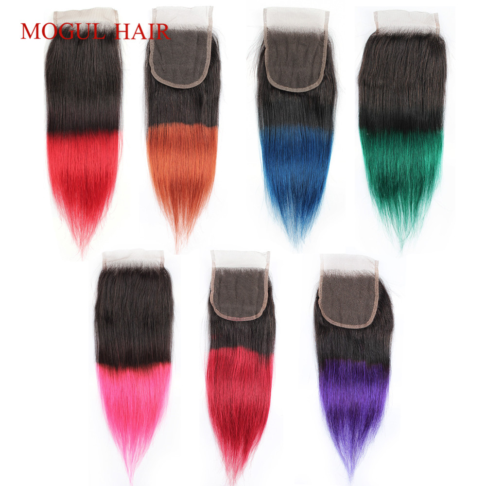 MOGUL HAIR Ombre Purple Blue Green Red Brazilian 10-18 Inch Straight Hair 4*4 Lace Closure Remy Human Hair Closure