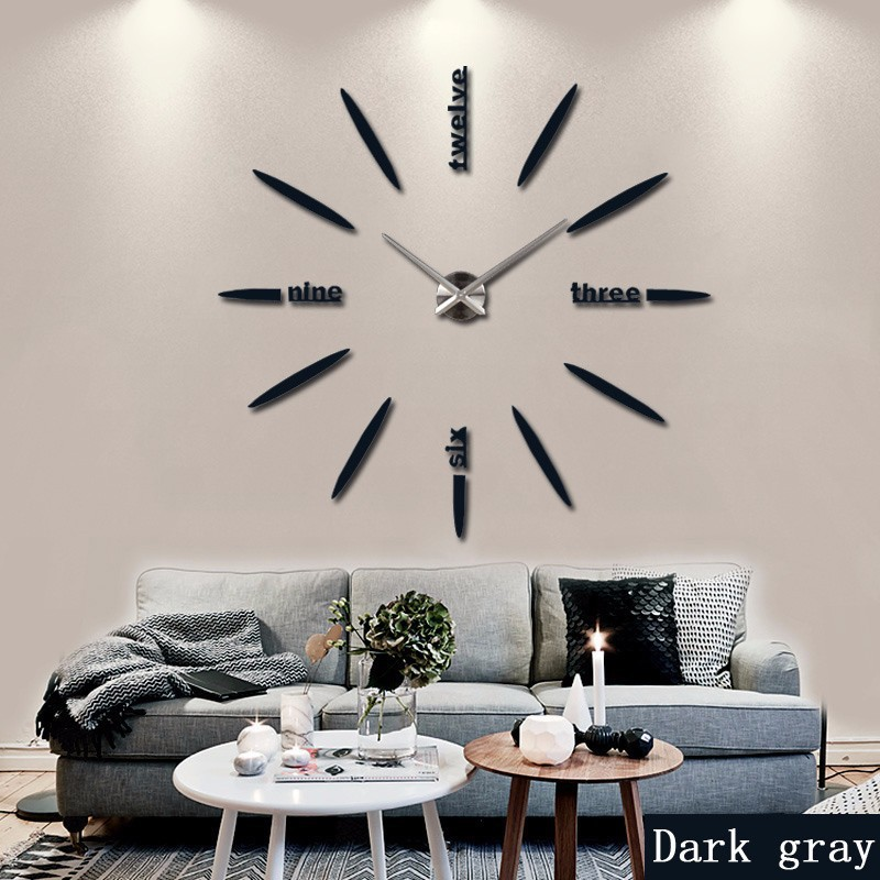 Wall Clock Watch Stickers DIY 3D Acrylic Mirror Home Decoration Quartz Needle Modern Clock