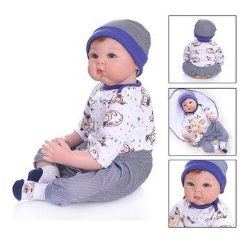 55cm Cute Reborn Doll Realistic Soft Silicone Vinyl Newborn Babies Boy Toy Clothes Mat Lifelike Handmade Gift Y4QA