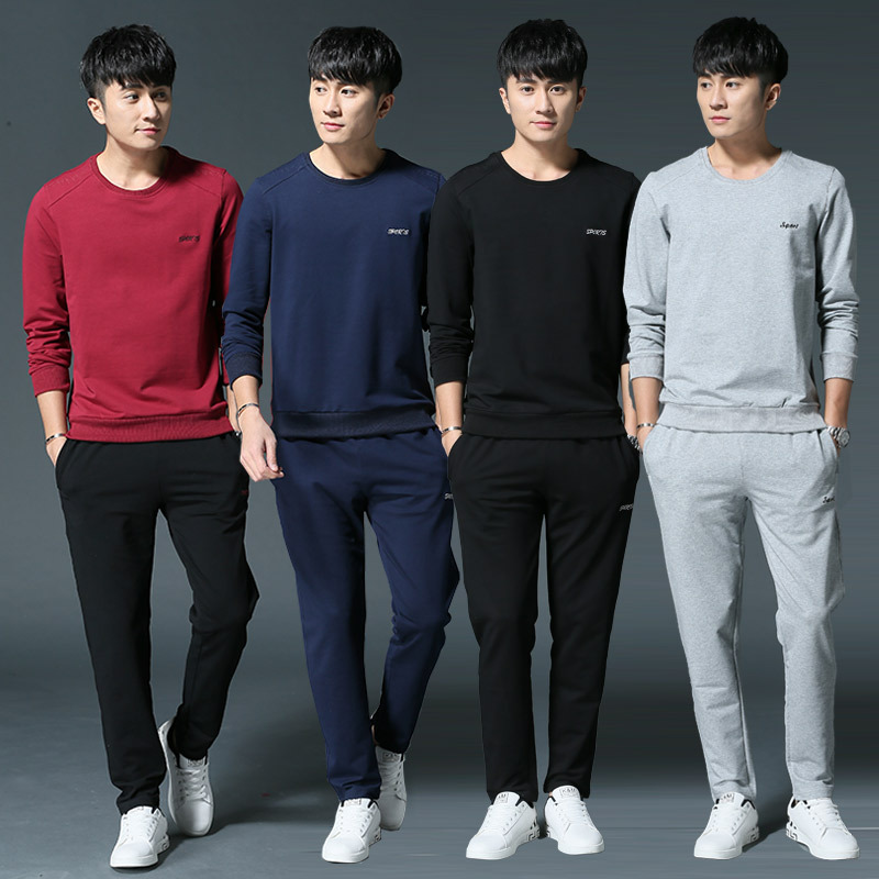 Long Sleeve Sports Set Men's Spring And Autumn Casual Red Round-neck Pure Korean-style Hoodie Two-Piece Set Running Clothes Spor