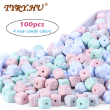 New 100pc Alphabet Silicone Chewing Beads For Teething Necklace Food Grade BPA Free Letter DIY