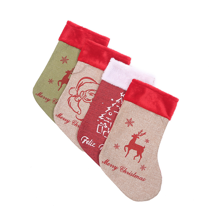 Christmas Stockings Pendant Cloth Ornaments Small Boots Pattern Print Party Home Decoration Gift Bag
