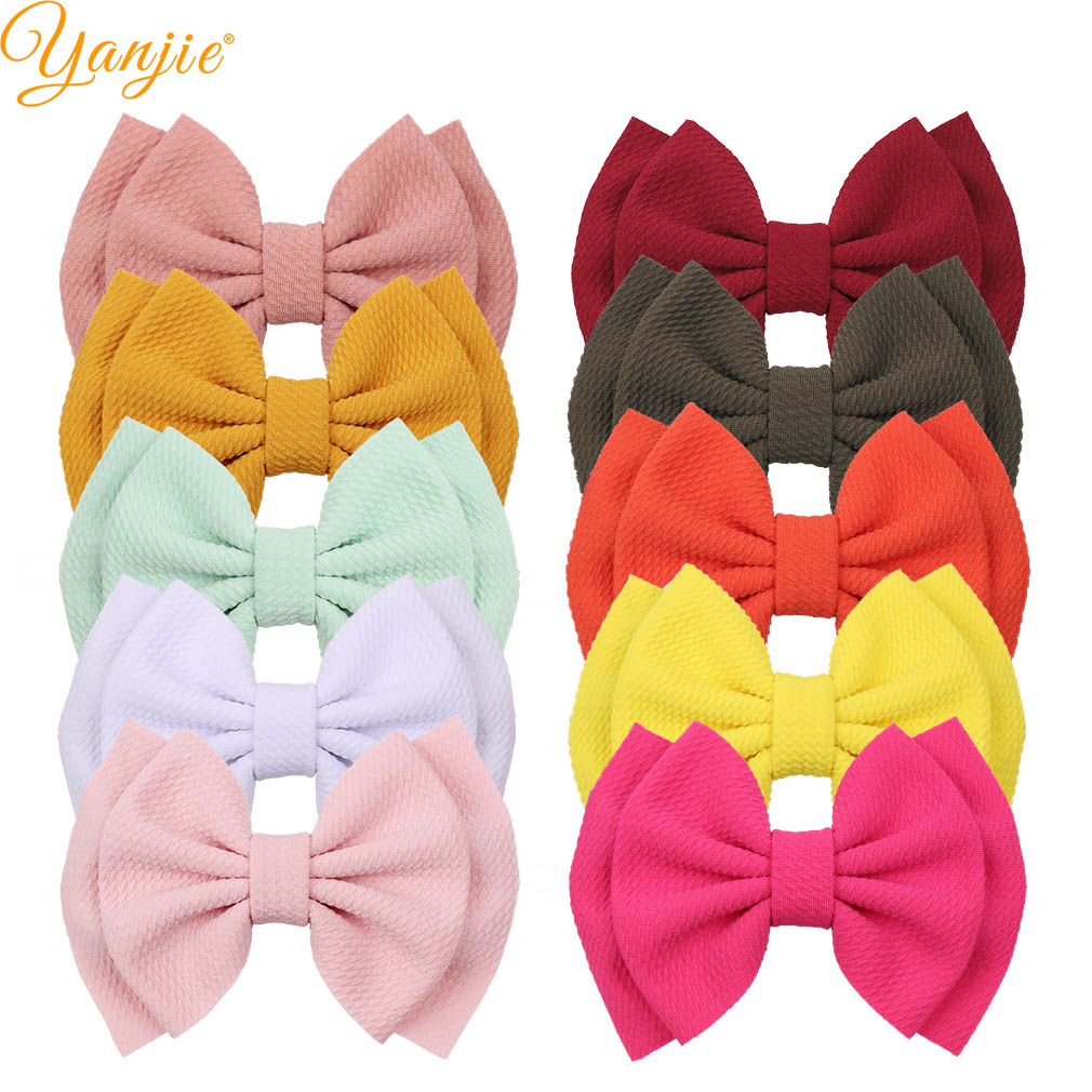 10pcs/lot Chic 6'' Large Waffle Hair Bows For Kids Headband Bullet Fabric Barrette Hair Clip DIY Women Girls Hair Accessories