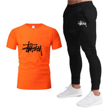 New brand fashion high-quality casual sports suit men's short-sleeved T-shirt shirt + pants suit short-sleeved T-shirt + pants