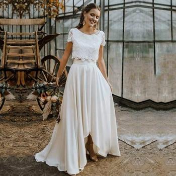 Bohemian Two Pieces Wedding Dresses 2021 Lace Top Short Sleeve Bridal Gown Jewel Neck Beach Vestidos De Novia - discount item  46% OFF Wedding Dresses