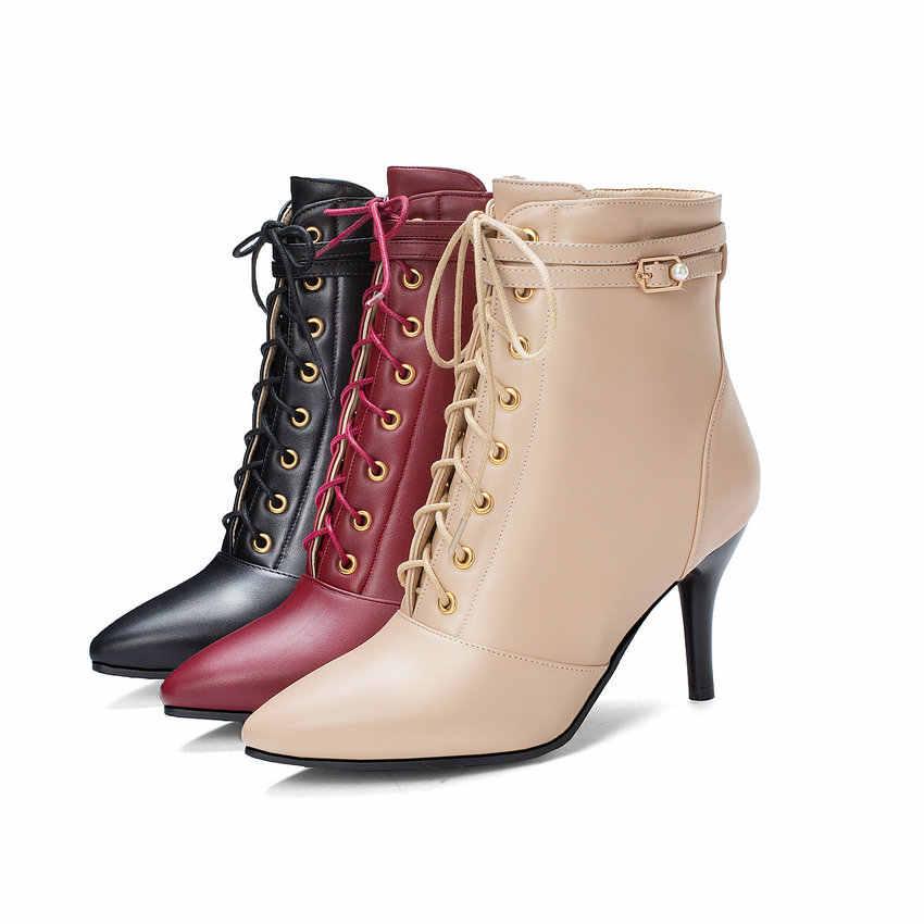 ESVEVA 2020 Kadın Ayakkabı Kış yarım çizmeler Ince Yüksek Topuk Fermuar PU Deri Lace Up Siyah Motosiklet Platform Çizmeler Boyutu 34 -43