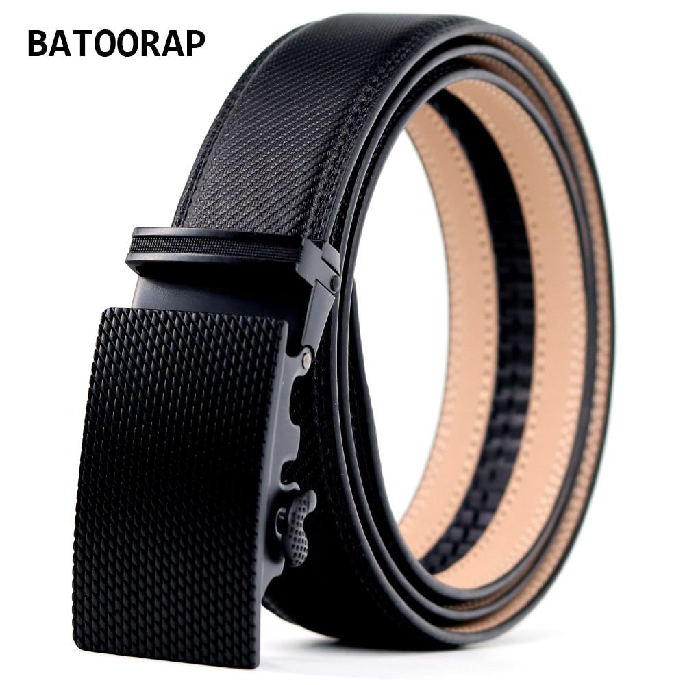 Men's Leather Belt Metal Auto Buckle Cowhide Luxury Waist Trouser Belt Ratchet Fashion Black Strap Cool Style