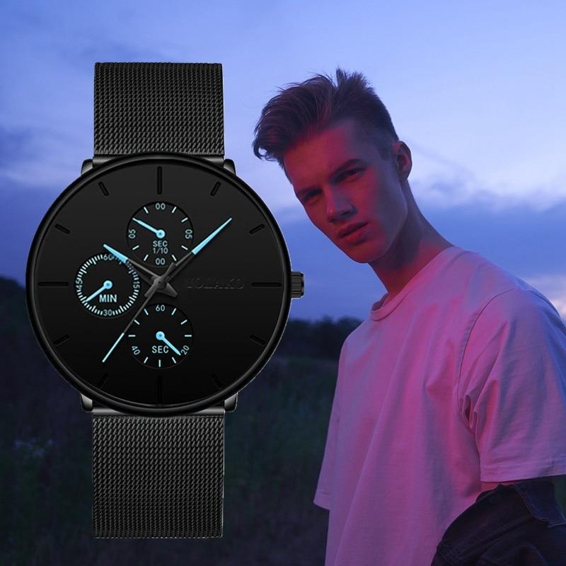 2020 New Mens Business Blue Stainless Steel Mesh Belt Quartz Wrist Watch Men Ultra Thin Casual Classic Watch Relogio Masculino