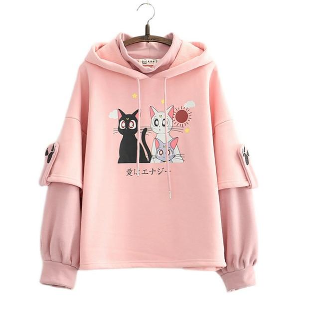 Fleece Pink Winter Hooded Sweatshirt Cartoon Cat Print Cute Hoodies Sweet Style Girl Long Sleeve Kawaii Harakuju Pullover Top