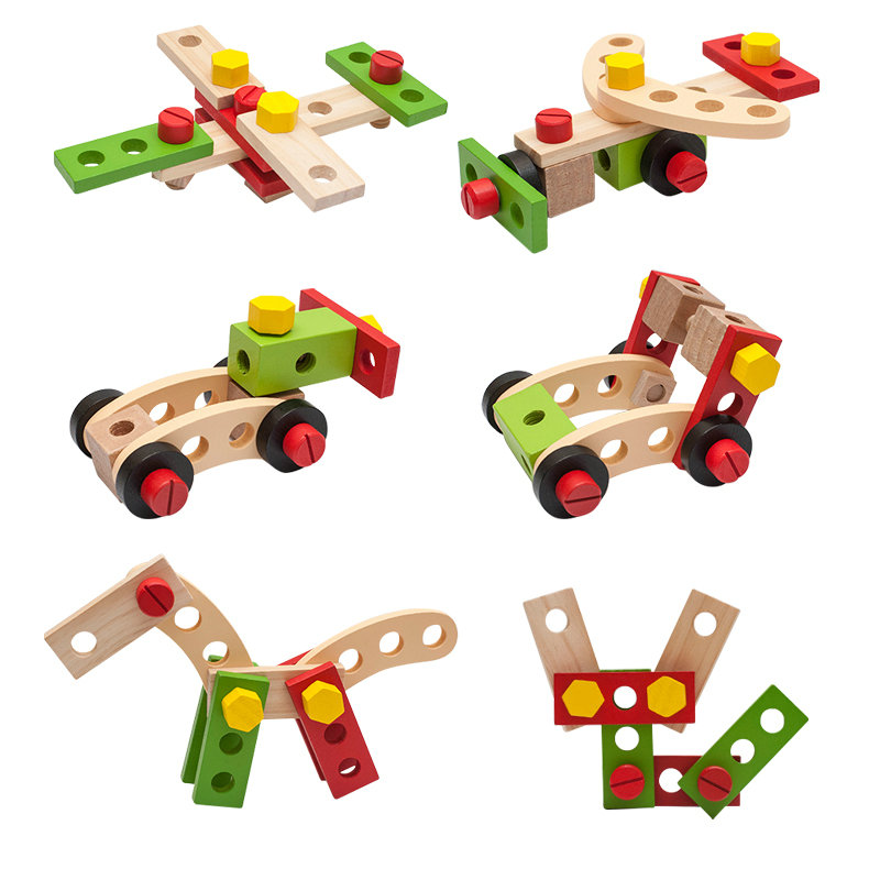 Screwing Blocks Tool set Nut Fittings Combination Toy 28pcs Assembly Disassembly Car Model Building Kits Wooden Toys Baby Gift